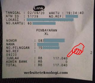 Contoh Struk pembayaran Pulsa Pasca Bayar di ATM BRI Link