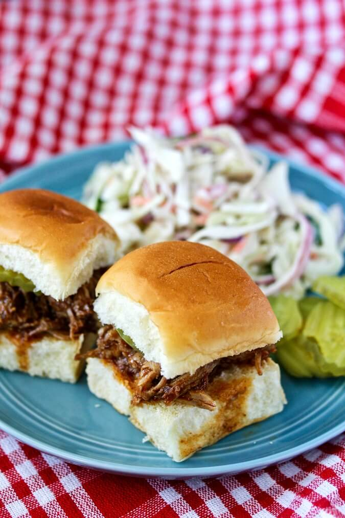 Instant Pot Carolina-Style Pulled Pork sandwiches with coleslaw