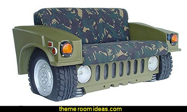 Hummer Car Sofa  Army Theme bedrooms - Military bedrooms camouflage decorating  - Army Room Decor - Marines decor boys army rooms - Airforce Rooms - camo themed rooms - Uncle Sam Military home decor - military aircraft bedroom decorating ideas - boys army bedroom ideas - Military Soldier - Navy themed decorating