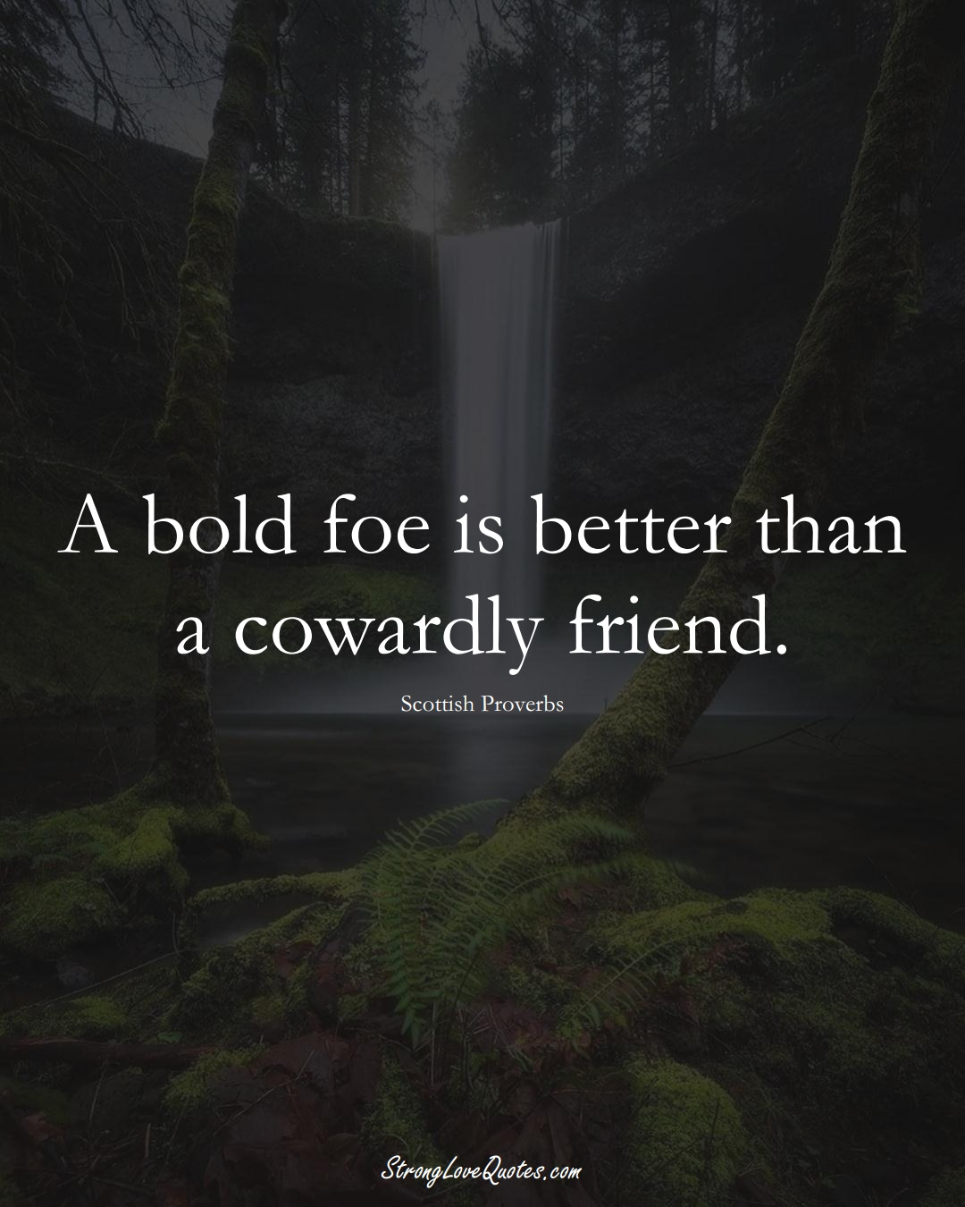 A bold foe is better than a cowardly friend. (Scottish Sayings);  #EuropeanSayings