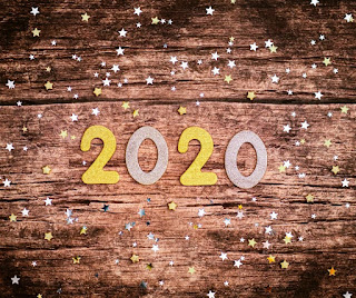Numbers 2020 on wooden background