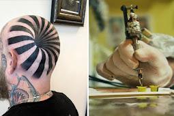 Tattoo artist's 'insane optical illusion' tattoo looks like giant hole in a head