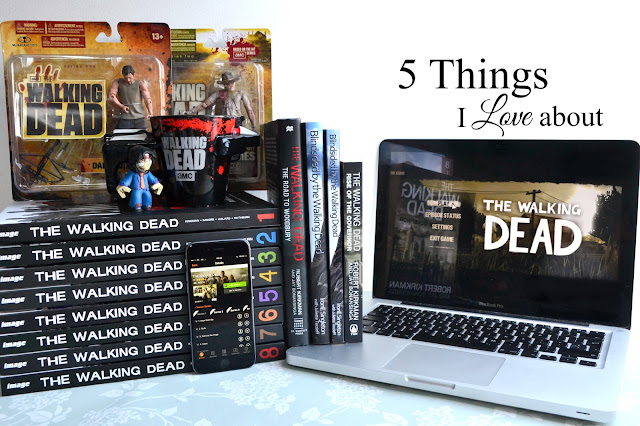 The Walking Dead comic books, novels, TV show, action figures and video game.