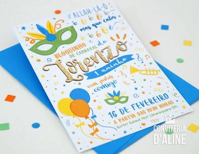 convite bloco carnaval baile mascara infantil