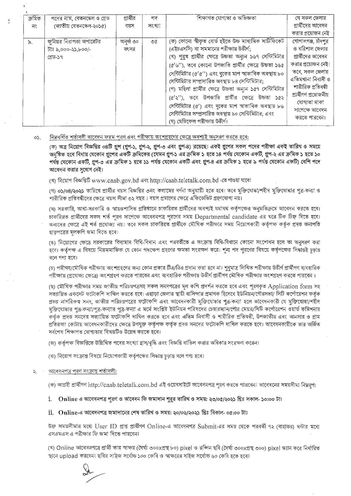 Civil Aviation Authority of Bangladesh Job Circular 2021