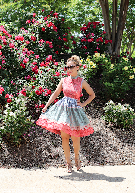 Multi-colors lace dress