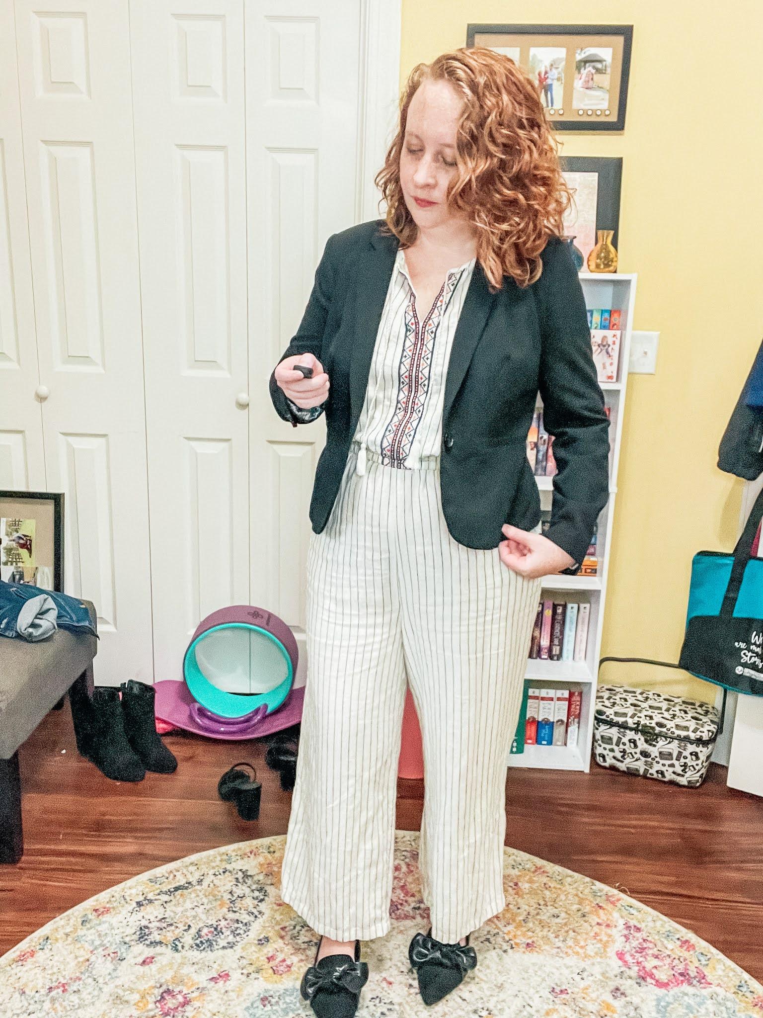 striped-jumpsuit-blazer-flats