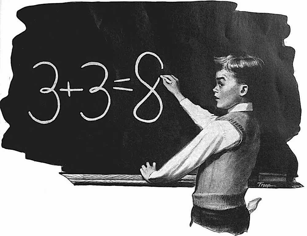 a 1946 schoolboy struggling at the blackboard with adding