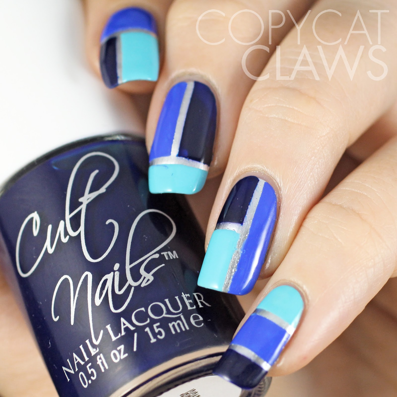 Copycat Claws: Blue Color Block Nail Art