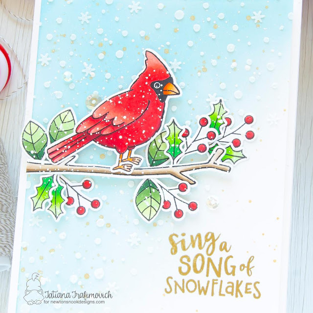 Sing a Song of Snowflakes! Winter Cardinal card by Tatiana Trafimovich | Winter Birds Stamp Set and Petite Snow Stencil by Newton's Nook Designs #newtonsnook #handmade