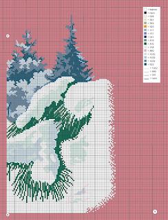 Bianconiglio sulla neve -Motivo per cuscino a punto croce