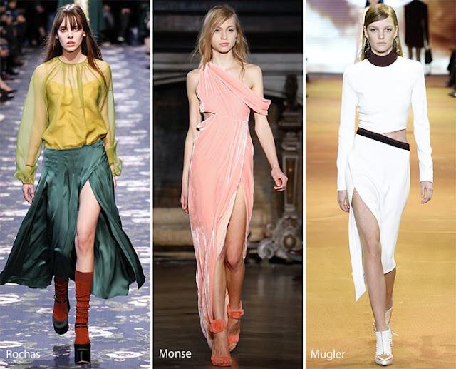 Платья и юбки с высоким разрезом образы с подиума