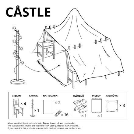 Buden bauen mit IKEA | Spielfestungsanleitungen in einfacher Blaupausenmanier des schwedischen Möbelhauses