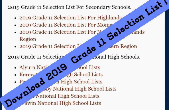 Grade 11 Selection 2019