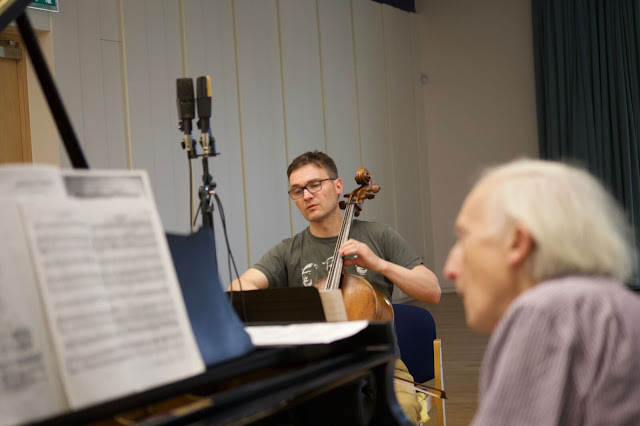 Adrian Bradbury and Oliver Davies recording (Photo Richard Hughes)
