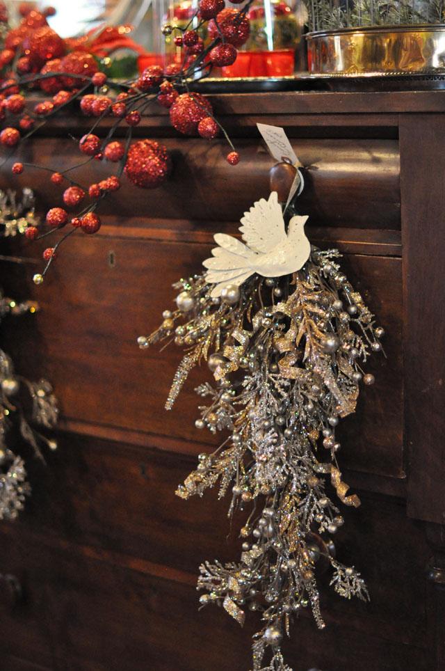 antique dresser with christmas decor
