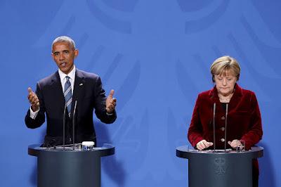 U.S. President Barack Obama and angela merkel