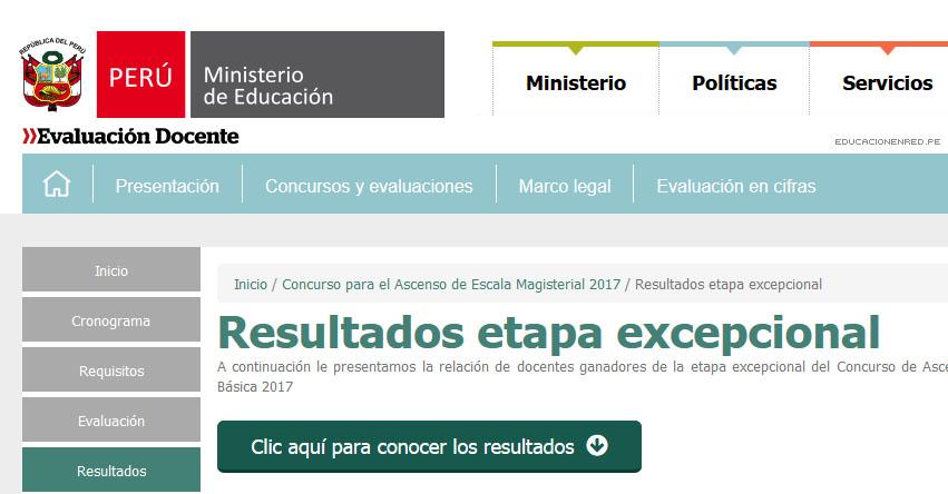 MINEDU publicó Resultados Ascenso de Escala Magisterial - ETAPA EXCEPCIONAL - 10 Enero 2018 - www.minedu.gob.pe