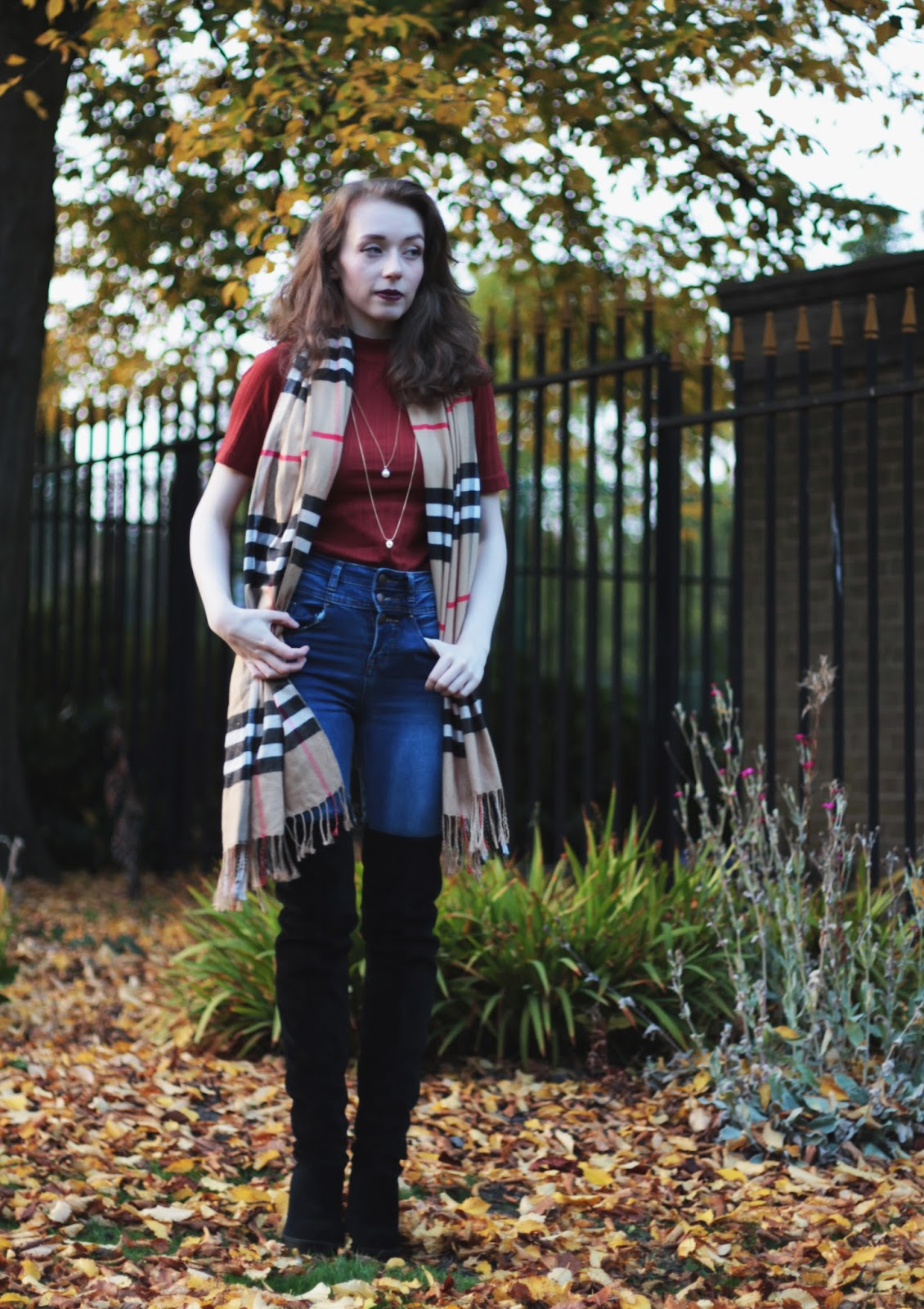 autumn ootd high neck top over knee boots uk fashion full body