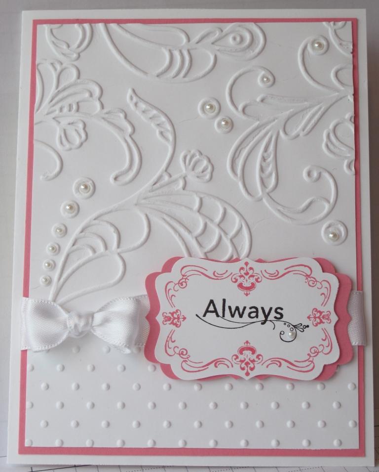 craft room stamper embossed regal wedding card
