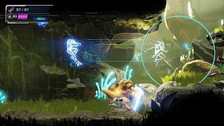 Samus using Flash Shift in a green environment