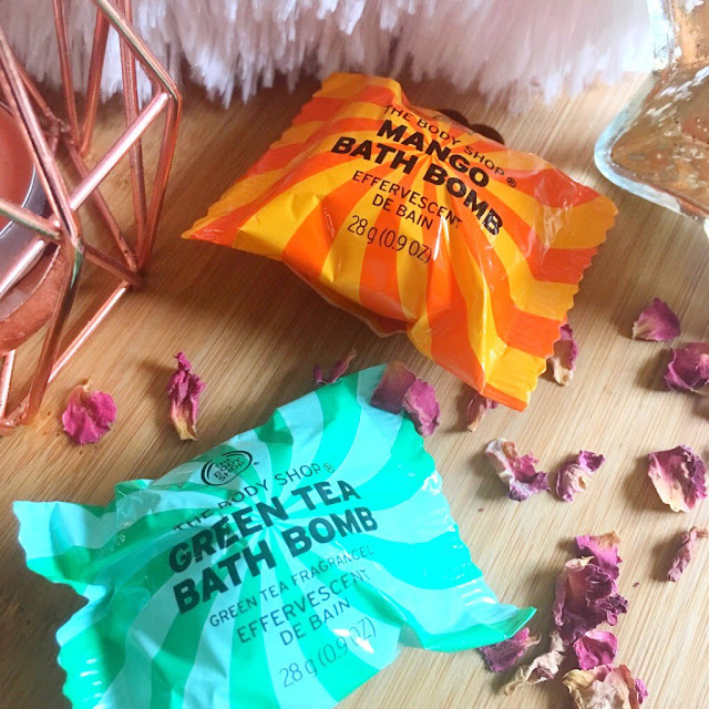 The body shop bath bombs, mango and green tea