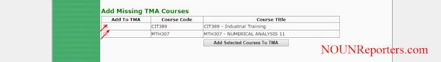 Ticking Missing TMA Courses to NOUN TMA Portal
