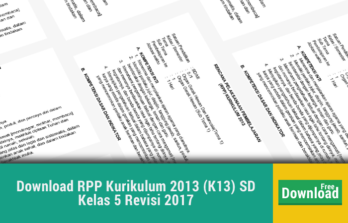 Download RPP Kurikulum 2013 (K13) SD Kelas 5 Revisi 2017