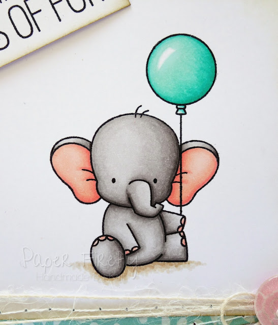 Cute handmade elephant birthday card (image is Adorable Elephants by My Favourite Things)