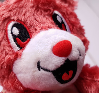 Scentco's Smanimals Strawberry Teddy Bear close up to see the texture around the nose