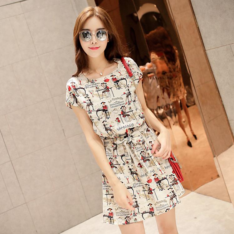 238bd74c8c20 2015 summer new Korean Women round neck waist dress flappers printing  japanese street fashion japanese fashion