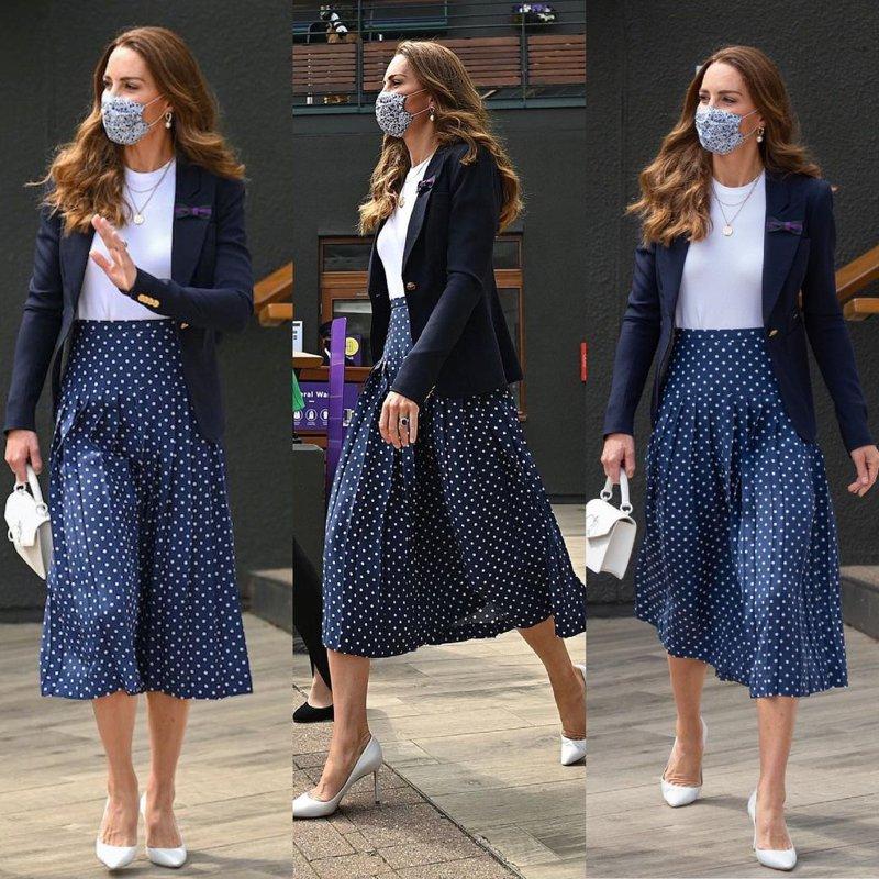 Look da Kate Middleton com blazer e saia de bolinhas
