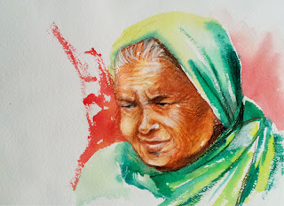 Image result for indian old woman  sketch