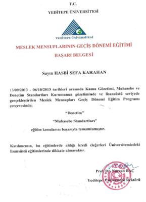 Yeditepe Üniversitesi Meslek mensuplarının geçiş dönemi eğitimi 'Başarı Belgesi