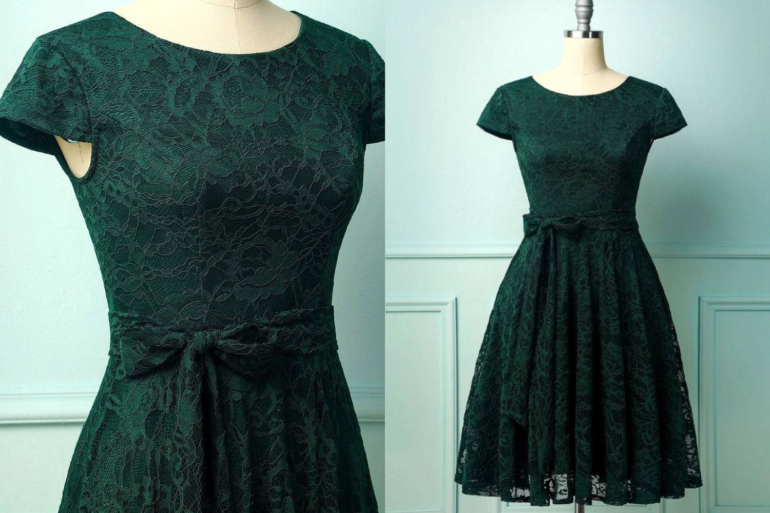 vintage deep green lace dress diptych