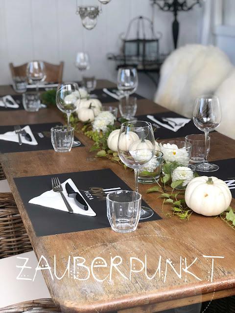 Tischdekorationsessential, Grundlagen der Tischdekoration, Kürbisdeko, Herbsttisch, Geburtstagstafel, Tablesetting