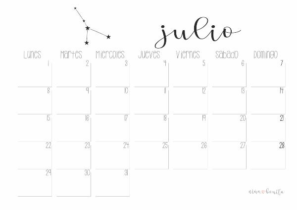 Julio Calendario.Imprimible Calendario Julio 2019 Nina Bonita