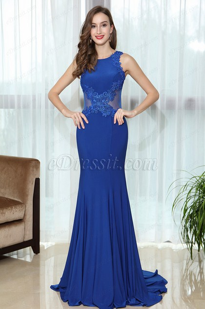 Blue Sleeveless Lace Appliques Prom Mermaid Gown