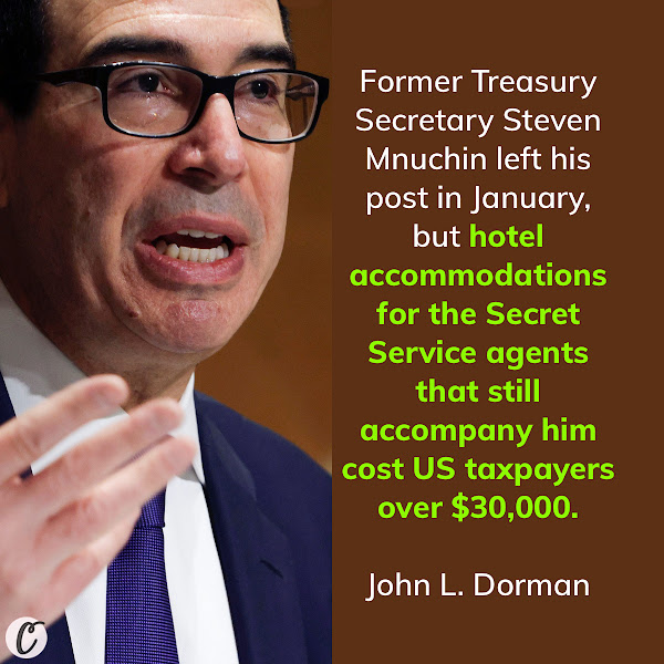 Former Treasury Secretary Steven Mnuchin left his post in January, but hotel accommodations for the Secret Service agents that still accompany him cost US taxpayers over $30,000. — John L. Dorman, Business Insider