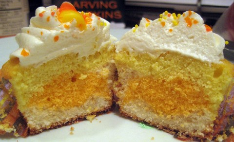 Candy Corn Cupcake with Vanilla Butter Cream