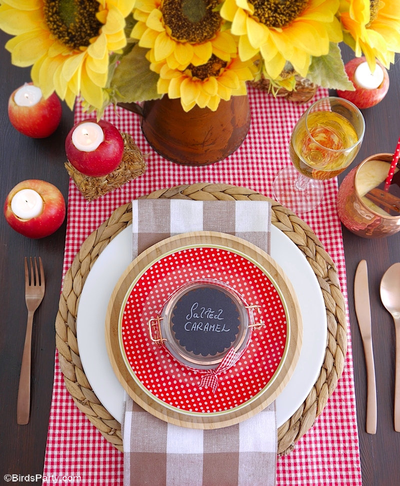 A Farmhouse Inspired Apple Harvest Tablescape - creative, easy ideas and DIY projects to style a pretty table for fall celebrations or a special dinner party! by BirdsParty.com @birdsparty #tablescape #tabledecor #falltablescape #fallpartyideas #applepartyideas #appleharvest #appletablescape #farmhousedecor #farmhousetablescape #thanksgivingtablescape #appletable