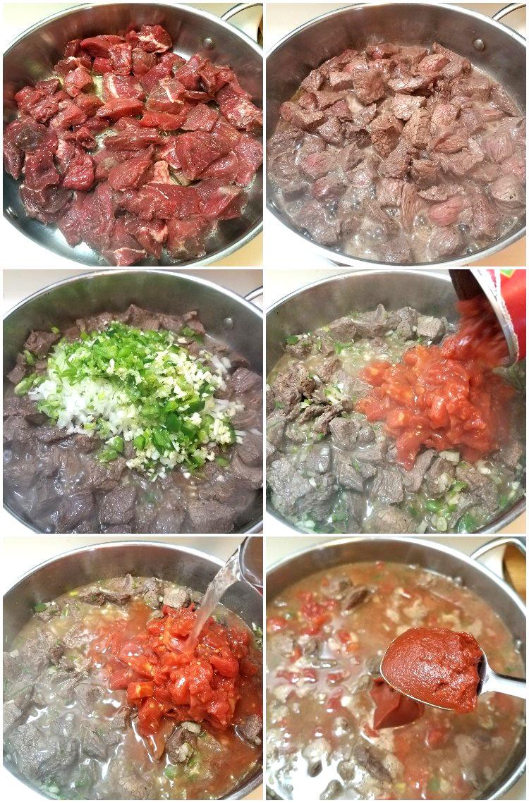 Preparación de la carne guisada