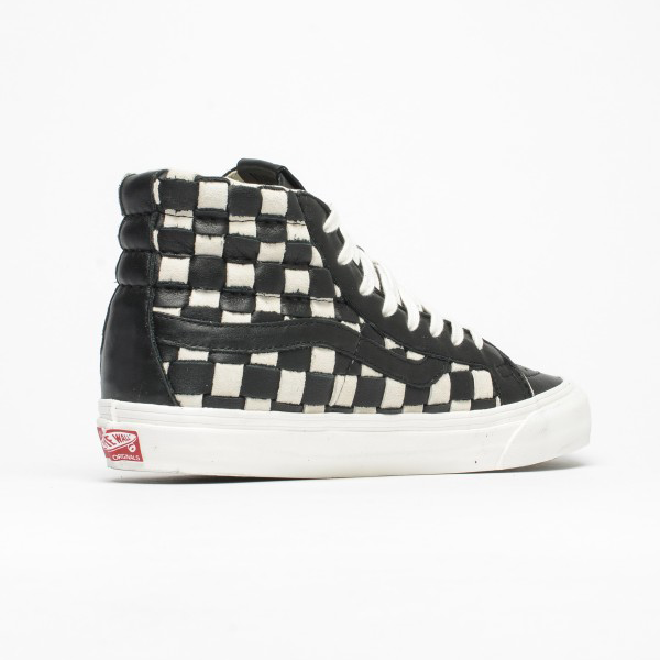 8e6928a7c2 Vans Vault OG SK8-Hi LX (Woven Leather) 50th Checkerboard Black White.  VN0003T0ILY
