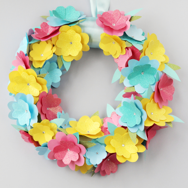 and there you have it a simple and cheap paper flower wreath perfect