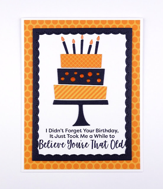 Handcrafted birthday cake card with sassy greeting (using Birthday cake die-namics and Sassy Pants birthday greetings from MFT)