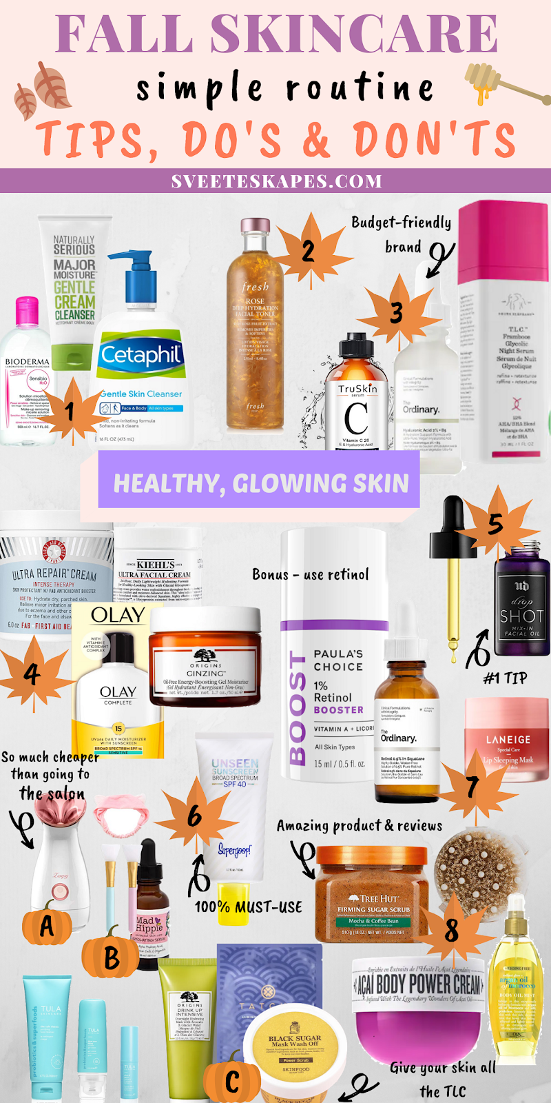 Fall skincare routine tips featured by top US life and style blog, Sveeteskapes