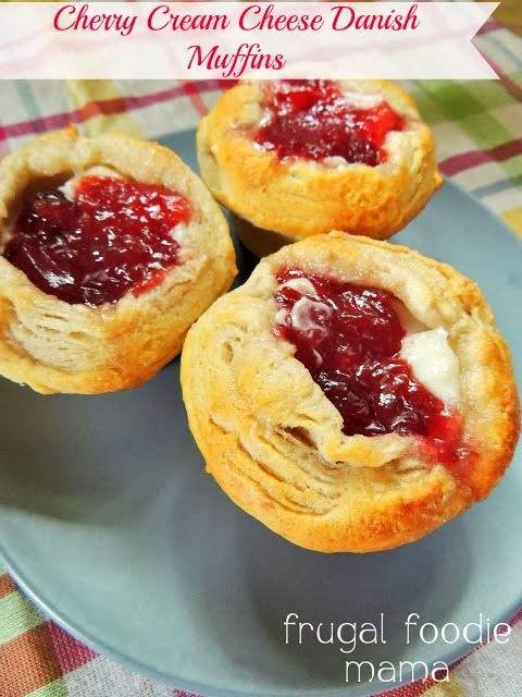 These 4 ingredient Cherry Cream Cheese Danish Muffins are the perfectly holiday festive weekend breakfast & come together in less than 25 minutes.