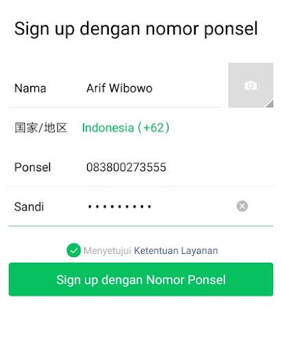 Sign Up Dengan Nomer Ponsel
