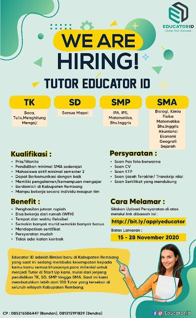 Lowongan Kerja Tentor Edutcator ID Rembang Untuk TK SD SMP SMA Sederajat