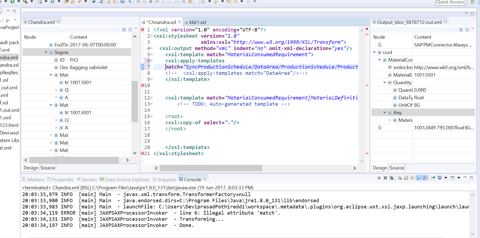 Sap Pi Reference Xslt Example In Eclipse Source Xsl Target View At